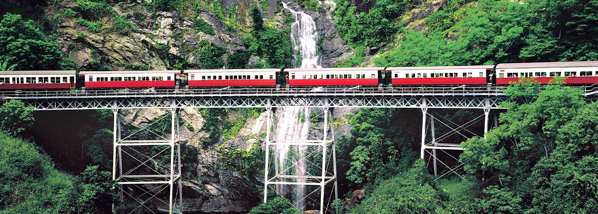 Railway on cliffs in Cairns, Australia