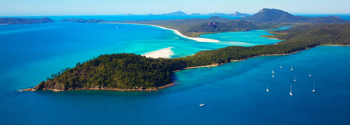 Aerial view of Whitehaven Beach in the Great Barrier Reef, Australia