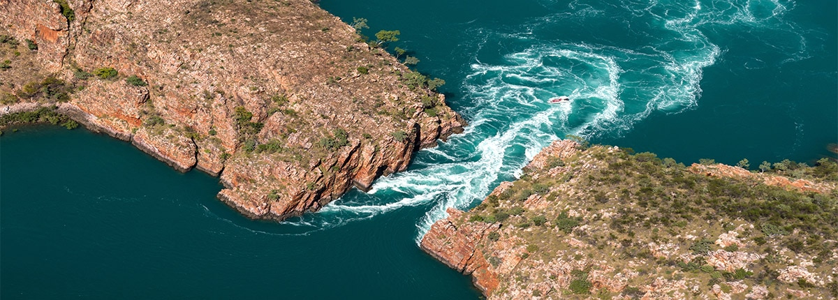 Gap between two cliffs in the Kimberley (Yampi Sound), Australia.