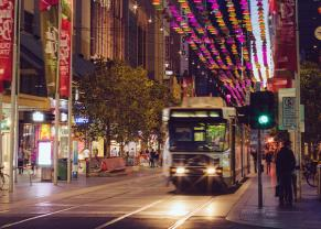 City of Melbourne, Australia at night.