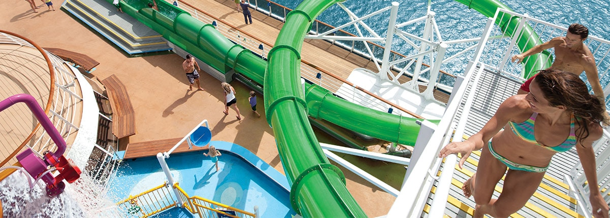 Carnival's onboard waterpark features the Green Thunder waterslide, a slide the whole family can enjoy