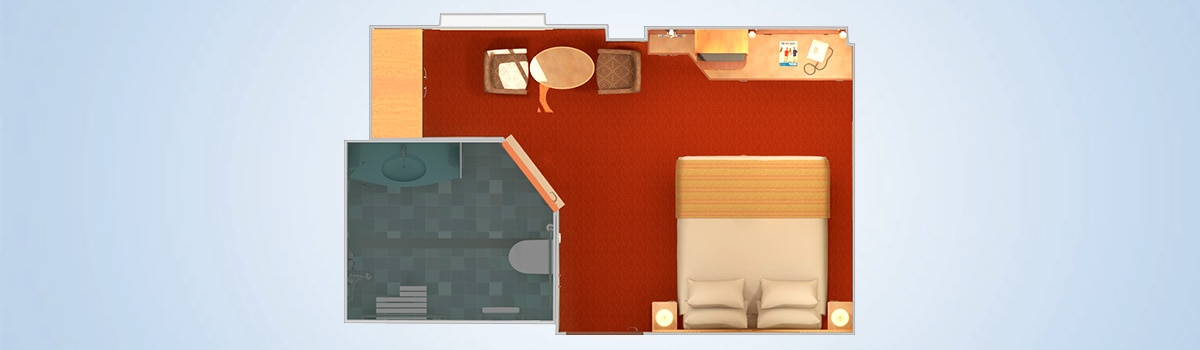 carnival legend interior with picture window (obstructed view) stateroom floorplan