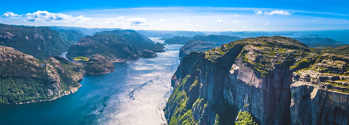 panoramic view of preikestolen mountain and pulpit rock