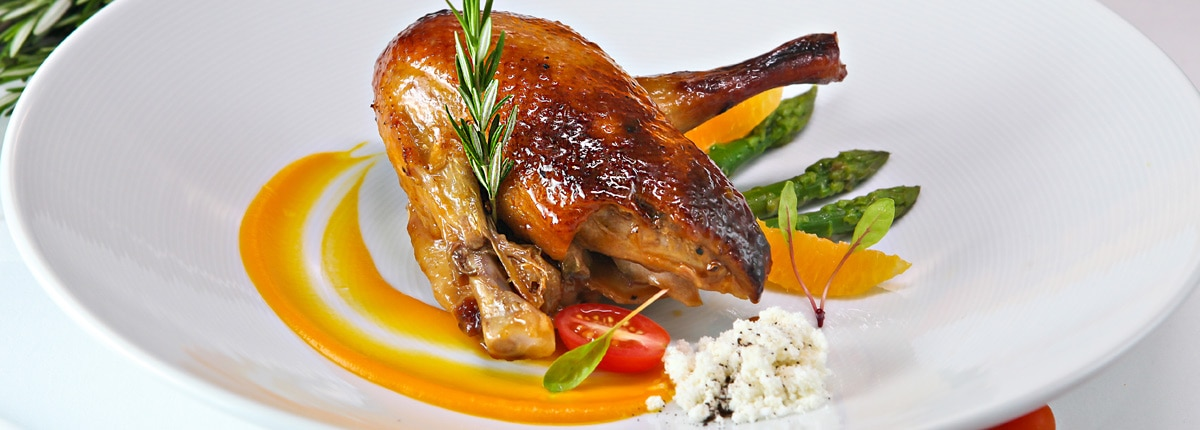 Enjoy a roasted duck in the dining room