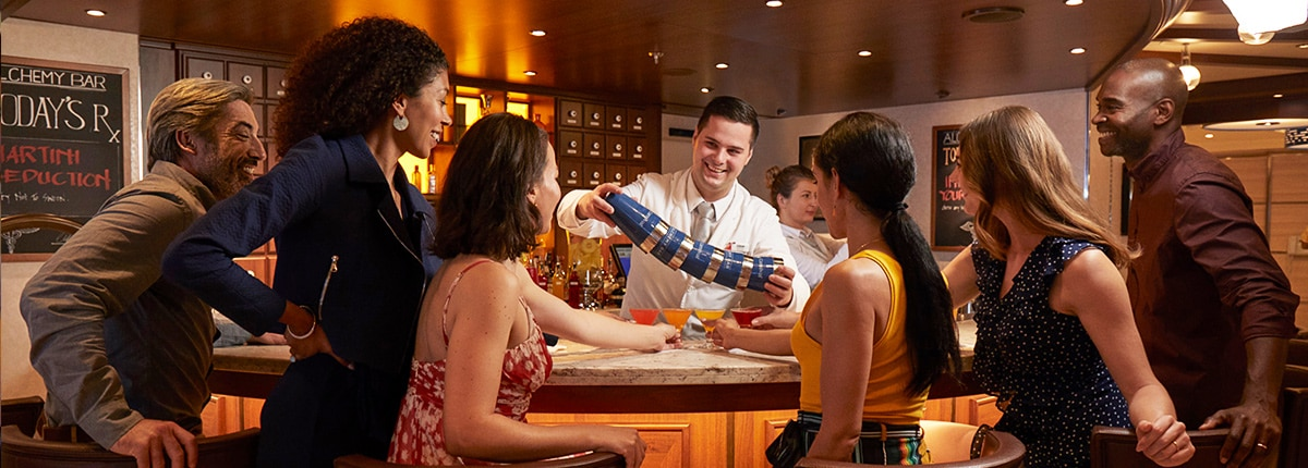 grab a drink at the alchemy bar on carnival