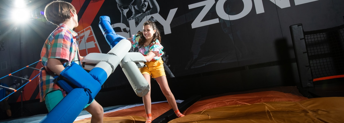 Sky Zone trampoline park on carnival panorama