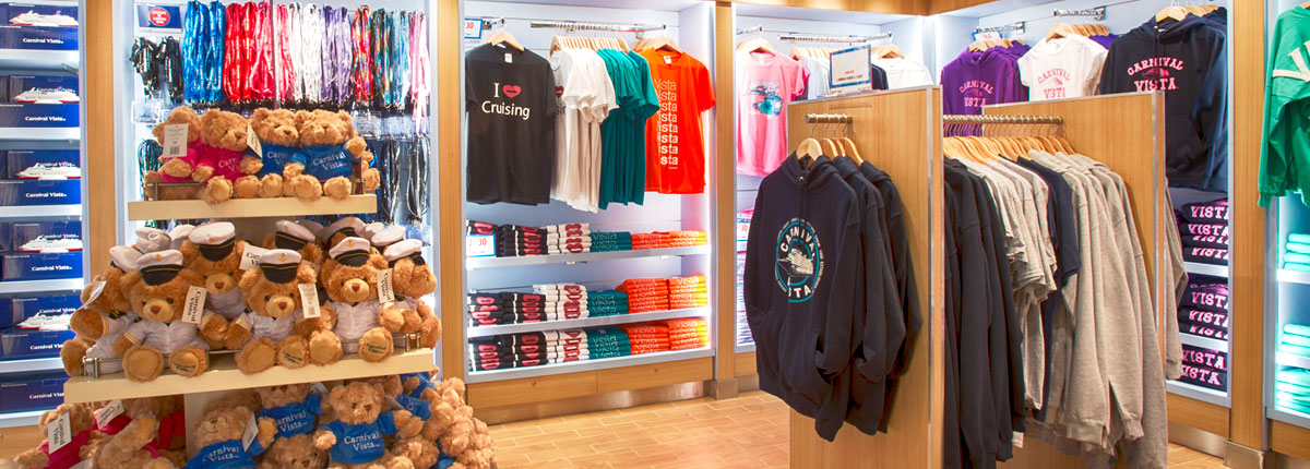 Branded Carnival apparel available at The Fun Shops.